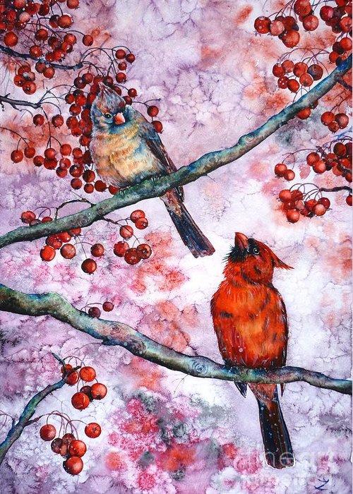 Cardinals Greeting Card featuring the painting Cardinals by Zaira Dzhaubaeva