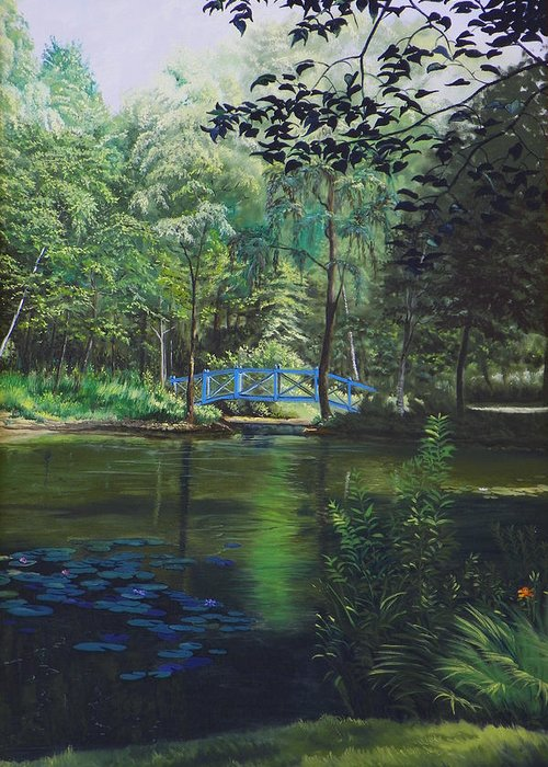 Landscape Greeting Card featuring the painting Carey's Pond by Kenneth Young
