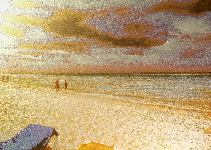 Greeting Card featuring the painting Caribbean Beach by Odon Czintos