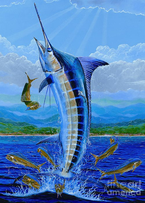 Blue Marlin Greeting Card featuring the painting Caribbean Blue Off0041 by Carey Chen