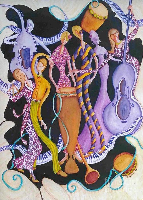 Dancers Greeting Card featuring the painting Caribbean Calypso by Arleen Barton