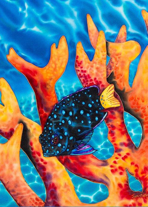 Damselfish Art Greeting Card featuring the painting Caribbean Damselfish by Daniel Jean-Baptiste