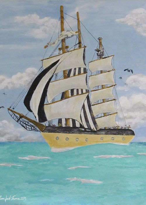 Tall Ship Greeting Card featuring the painting Caribbean Day by William Jack Thomas