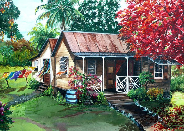 House Painting Caribbean Painting Tropical Painting West Indian Painting Old House Painting Flamboyant Tree Painting Poinciana Painting Red Painting Mango Tree Painting Watercolor Painting Greeting Card Painting Greeting Card featuring the painting Caribbean Life by Karin Dawn Kelshall- Best