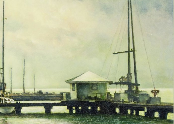 Caribbean Greeting Card featuring the painting Caribbean Marina-3 by Michael Frank