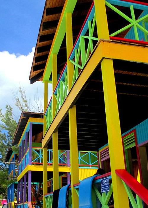 Caribbean Corner Greeting Card featuring the photograph Caribbean Porches by Randall Weidner