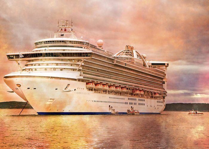 Caribbean Greeting Card featuring the photograph Caribbean Princess In A Different Light by Betsy Knapp