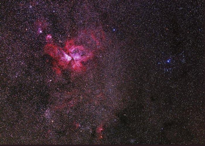 Carina Nebula Greeting Card featuring the photograph Carina Nebula by Babak Tafreshi