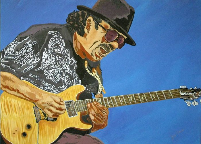 Carlos Santana Greeting Card featuring the painting Carlos Santana-magical Musica by Bill Manson