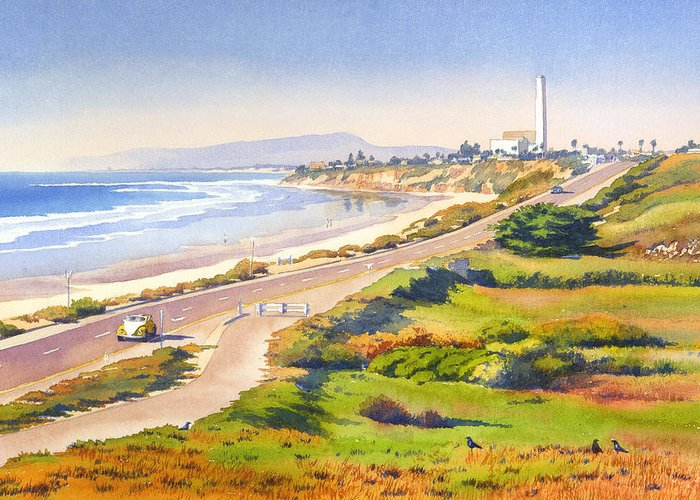 Carlsbad Greeting Card featuring the painting Carlsbad Rt 101 by Mary Helmreich