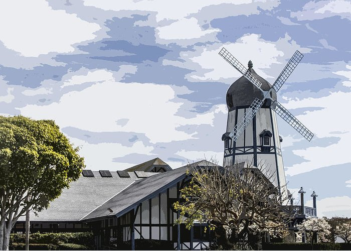 Carlsbad California Greeting Card featuring the digital art Carlsbad Windmill by Photographic Art by Russel Ray Photos