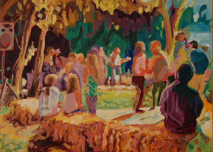 Summer Evening At He Carmel Valley Annual Hoopla Where The Locals And Visitors Enjoy The Outdoors At Night With The Band In The Background Of The Dance Floor Surrounded By Straw Bales - A Very Rural Atmosphere For A Great Barbecue Greeting Card featuring the painting Carmel Valley Hoopla by Thomas Bertram POOLE
