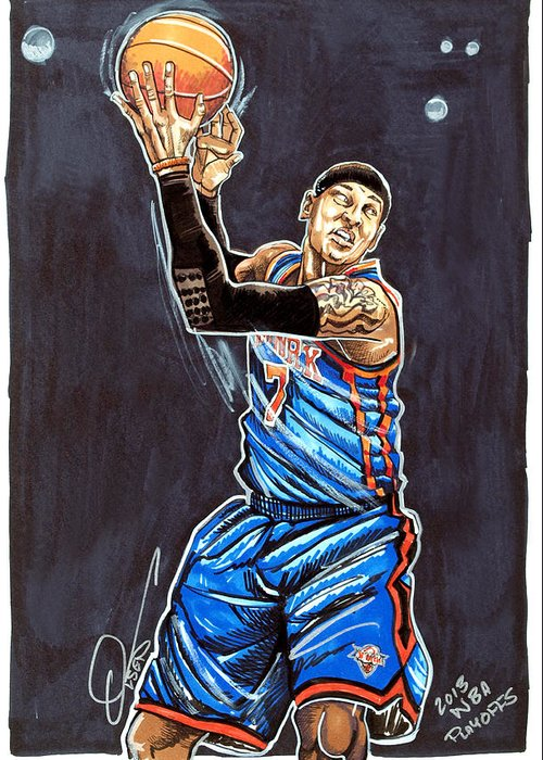 Carmelo Anthony Greeting Card featuring the drawing Carmelo Anthony by Dave Olsen