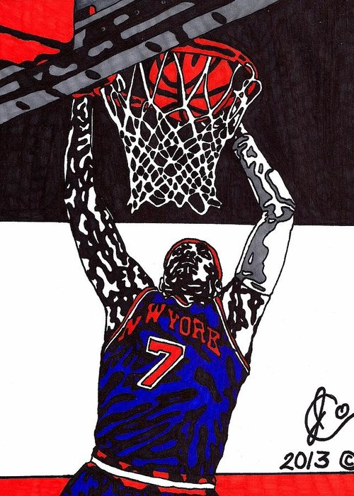 American Basketball Greeting Card featuring the drawing Carmelo Anthony by Jeremiah Colley