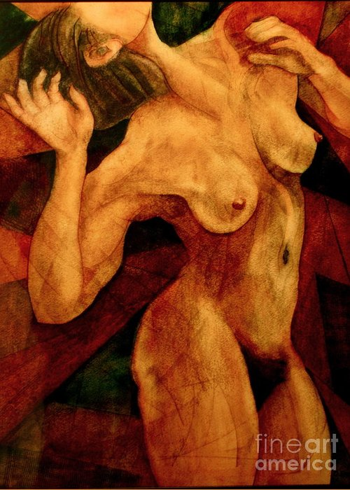 Female Nude Greeting Card featuring the painting Carmina Burana by Dan Earle
