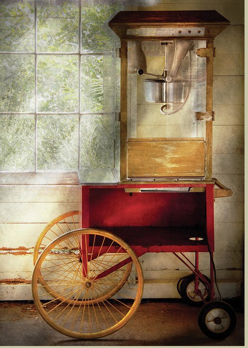 Savad Greeting Card featuring the photograph Carnival - The Popcorn Cart by Mike Savad
