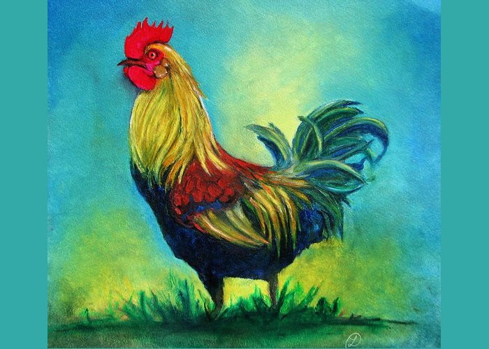 Animal Greeting Card featuring the pastel Caroles' Rooster by Linda Weldon