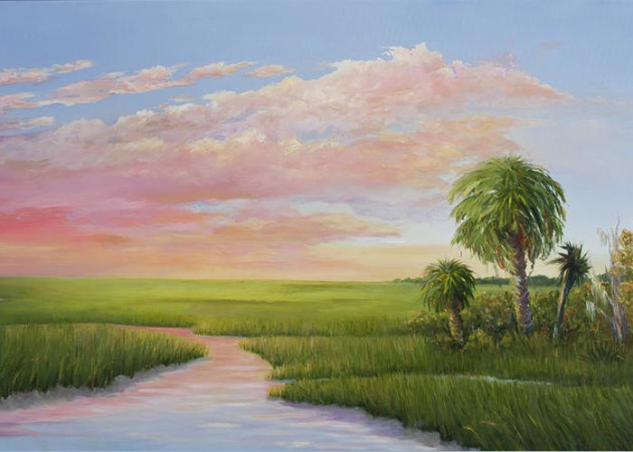 Coastal Sunset Greeting Card featuring the painting Carolina Classic by Audrey McLeod