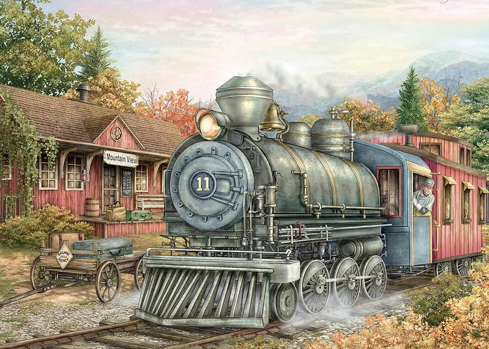 Train Greeting Card featuring the painting Carolina Morning Train by Beverly Levi-Parker