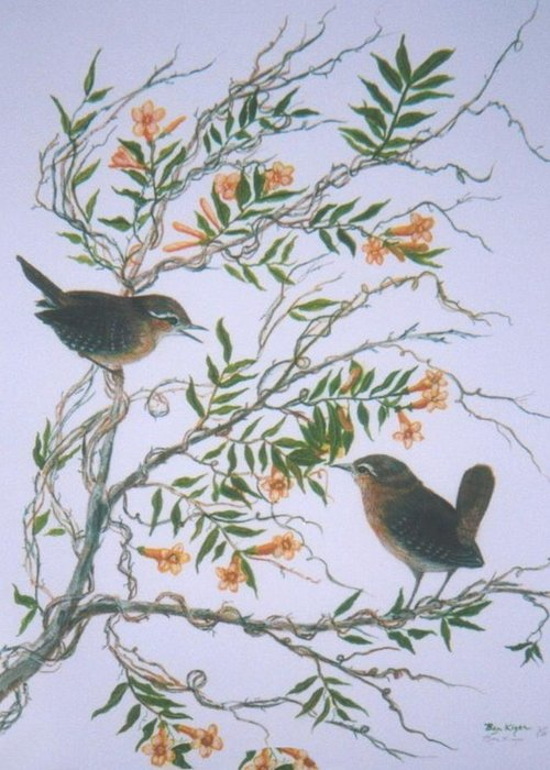 Bird; Flowers Greeting Card featuring the painting Carolina Wren And Jasmine by Ben Kiger