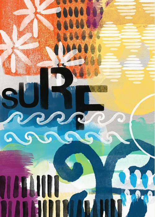 Surf Greeting Card featuring the painting Carousel #7 Surf - Contemporary Abstract Art by Linda Woods