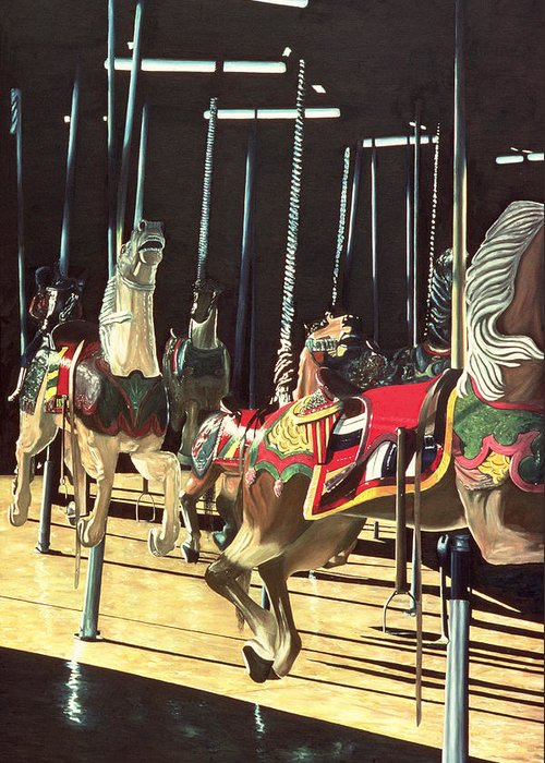 Merry Go Round Greeting Card featuring the painting Carousel by Anthony Butera