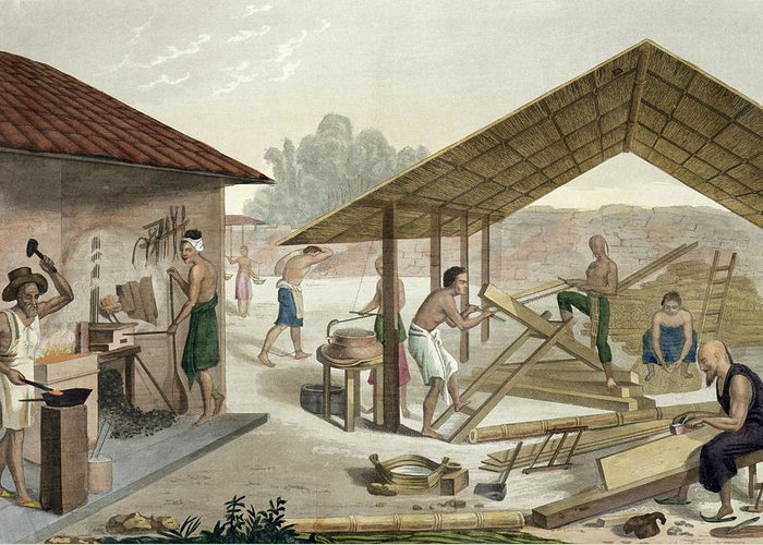Giulio Greeting Card featuring the drawing Carpentry Workshop In Kupang, Timor by Francesco Citterio