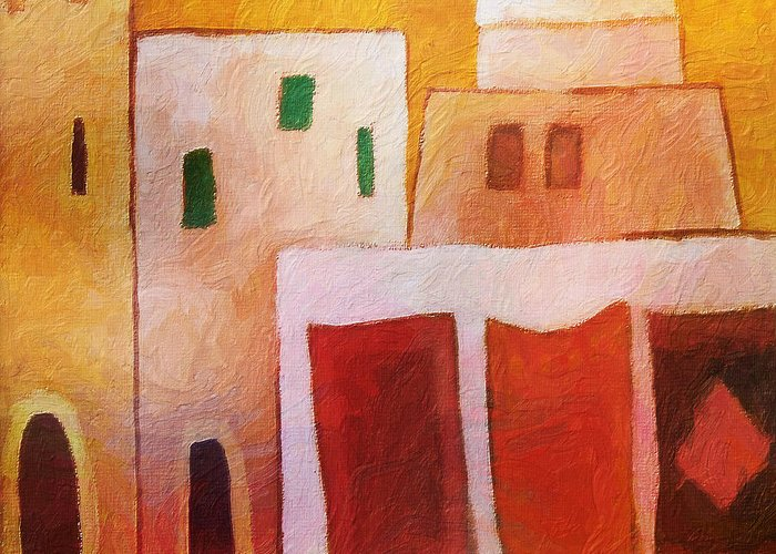 Carpet Town Greeting Card featuring the painting Carpet Town by Lutz Baar