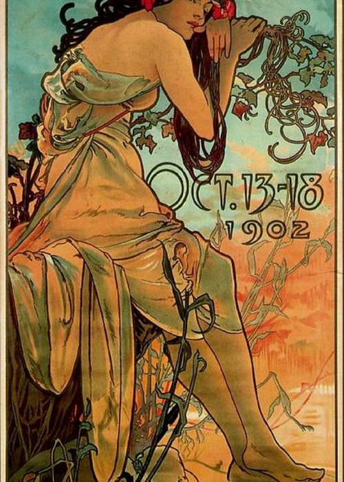 Mucha Greeting Card featuring the painting Carriage Dealers 1 by Alphonse Marie Mucha