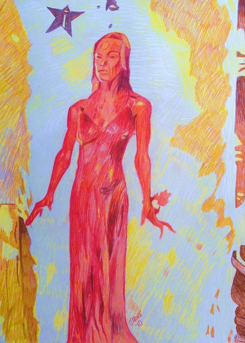 Carrie Sissy Spacek Stephen King Fire Pyromania Horror Film Book Actress Movie Hollywood Greeting Card featuring the drawing Carrie by Jeremy Moore