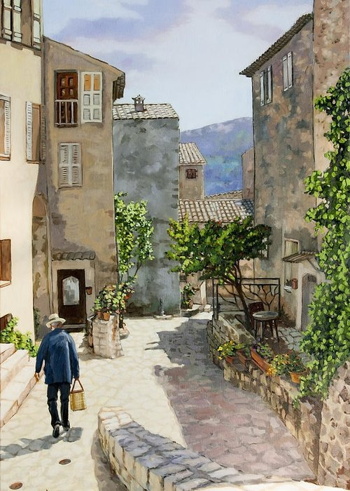 French Landscapes Greeting Card featuring the painting Carriero Du Pourtegue by Dominique Amendola