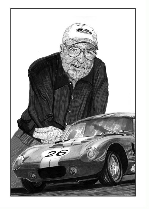 Prints Of Carroll Shelby And Shelby Cobra Daytona Number 26 Greeting Card featuring the drawing Carroll Shelby  Rest In Peace by Jack Pumphrey