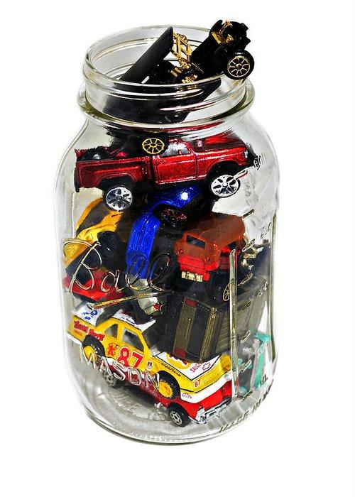 Cars Greeting Card featuring the photograph Cars In A Jar by Susan Leggett