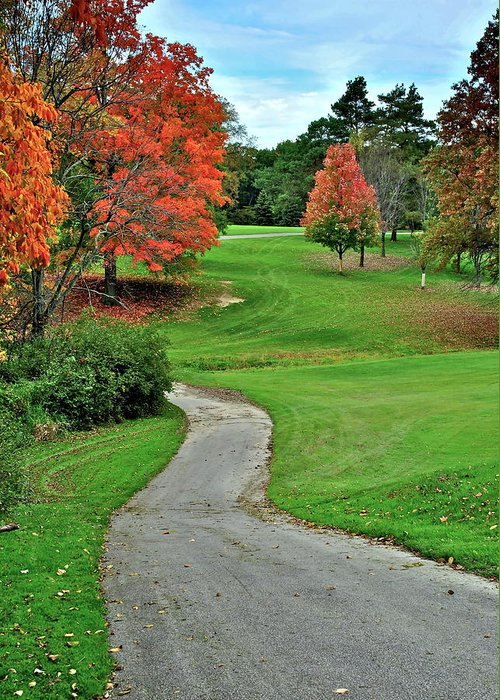 Golf Greeting Card featuring the photograph Cart Path by Frozen in Time Fine Art Photography