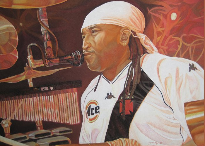 Carter Beauford Greeting Card featuring the drawing Carter Beauford At Red Rocks by Joshua Morton
