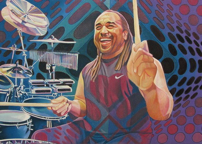 Carter Beauford Greeting Card featuring the drawing Carter Beauford Pop-op Series by Joshua Morton