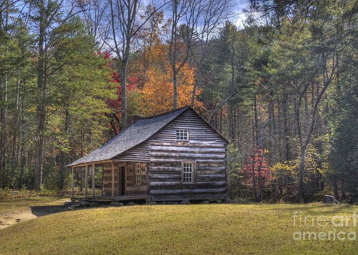 Smoky Mountain Greeting Card featuring the photograph Carter-shields Cabin by Crystal Nederman