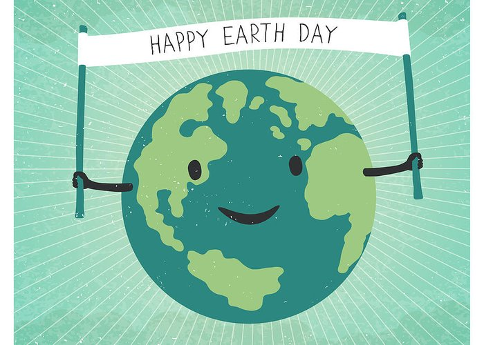 22 Greeting Card featuring the digital art Cartoon Earth Illustration. Planet by Pashabo