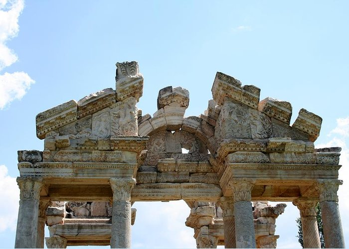 Aphrodisias Greeting Card featuring the photograph Carved Marble Of The Monumental Gate by Tracey Harrington-Simpson