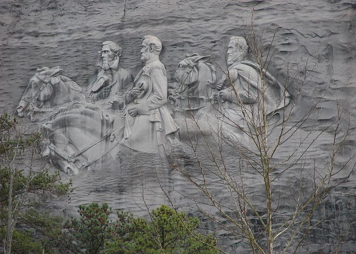Art Greeting Card featuring the photograph Carving Of Confederate Generals On Stone Mountain by BJ Karp