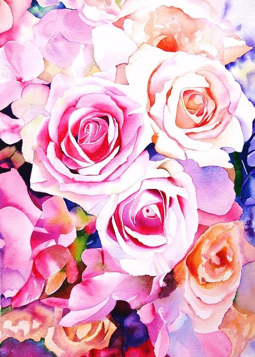 Pink Roses Greeting Cards