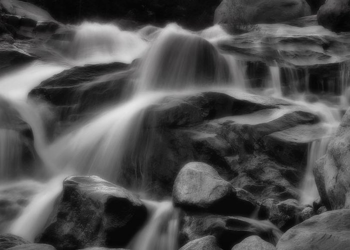 Creek Greeting Card featuring the photograph Cascades In Black And White by Ellen Heaverlo