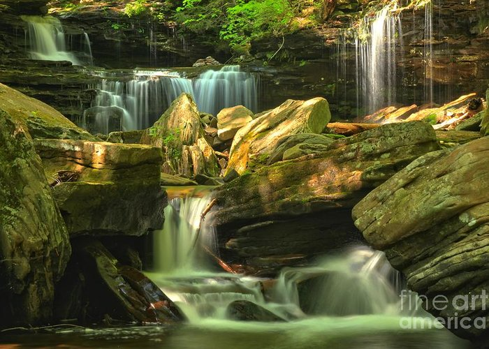 Ricketts Glen Waterfalls Greeting Card featuring the photograph Cascading Everywhere by Adam Jewell