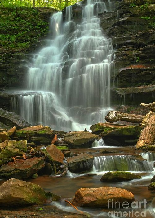 Ricketts Glen Waterfalls Greeting Card featuring the photograph Cascading Through Ricketts Glen by Adam Jewell