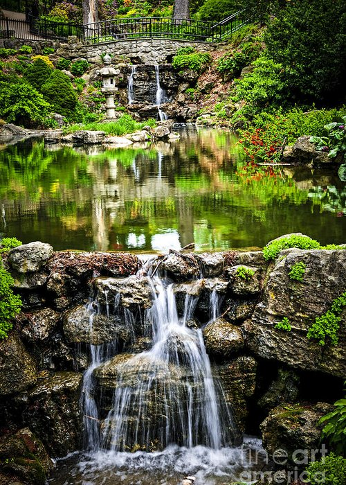Waterfall Greeting Card featuring the photograph Cascading Waterfall And Pond by Elena Elisseeva