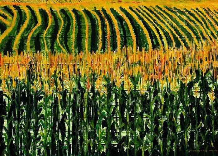 Corn Greeting Card featuring the painting Cash Crop Corn by Gregory Allen Page