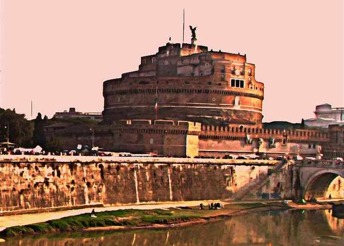 Mausoleum Of Hadrian Greeting Card featuring the photograph Castel Sant 'angelo by Brian Reaves