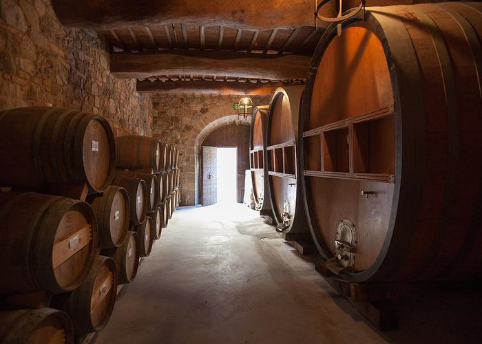 Winery Greeting Card featuring the photograph Castelle Di Amorosa Barrel Room by Scott Campbell