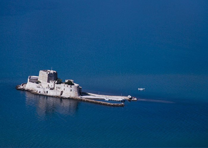 Nafplio Greeting Card featuring the photograph Castle Bourtzi by David Waldo