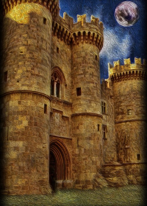 Castle Greeting Card featuring the photograph Castle By Moonlight by Lee Dos Santos